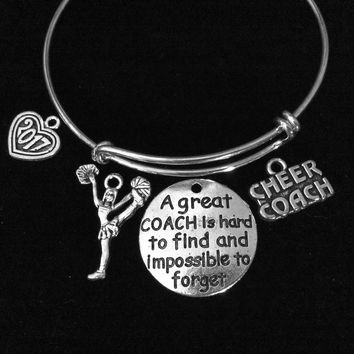 Cheer Coach Cheerleader 2017 Adjustable Bracelet Expandable Silver Charm Bracelet Bangle Gift A Great Coach is Hard to Find and Impossible to Forget