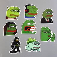 TD ZW 8Pcs/Lot  Pepe Sad Frog Funny Sticker For Car Laptop Luggage Skateboard Motorcycle Snowboard Phone Decal Toy Stickers