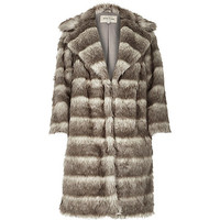 Grey stripe faux fur winter coat - faux fur coats - coats / jackets - women