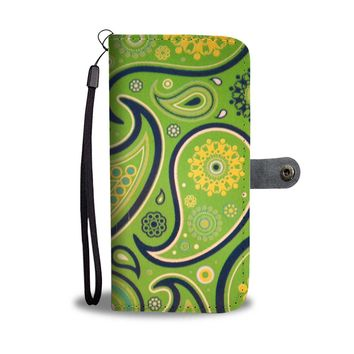 Green Paisley Phone Wallet Case