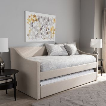 Baxton Studio Barnstorm Modern and Contemporary Beige Fabric Upholstered Daybed with Guest Trundle Bed Set of 1