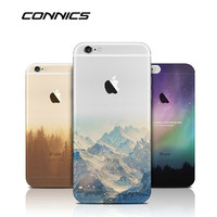 CONNICS Fashion Soft Silicone Mountain Back Cover Case For Apple iPhone SE 5s / 6 6s / Plus Transparent Covers Cases For iPhone