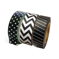 Dress My Cupcake DMC29201 Washi Decorative Tape for Gifts and Favors, Black/White Collection, Set of 3