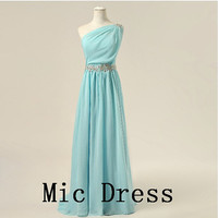 One-shoulder sleeveless chiffon wieh sashes appliques pleated long prom/Evening/Party/Homecoming/cocktail /Bridesmaid/Formal Dress