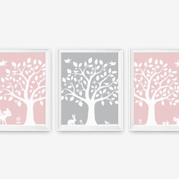 SALE 20% OFF Kids Wall Art - Woodland Nursery Tree Wall Decor Art - Deer, Bunny, Bird, Squirrel - Custom Color - Set of 3