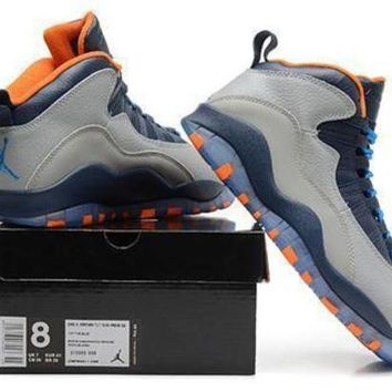 Cheap Air Jordan 10 X Retro Bobcats Grey Navy Orange Shoes
