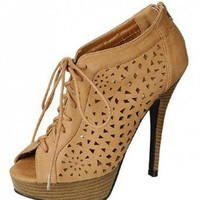 TAN CUT OUT DESIGN LACE UP HEELS @ KiwiLook fashion