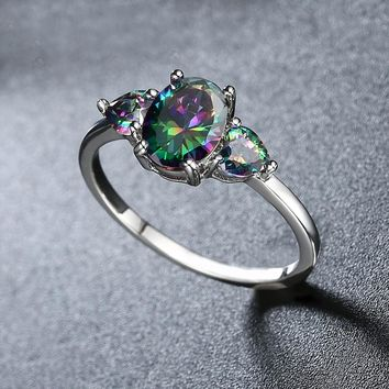 Multi Mystic Topaz 3 Stone Ring in 18K White Gold