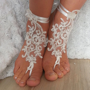 bridal anklet , ivory Beach wedding barefoot sandals, bangle, wedding anklet, free ship, anklet, bridal, wedding gift  bridesmaid