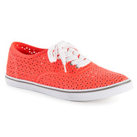 Aeropostale Womens Perforated Canvas Sneakers - Orange,