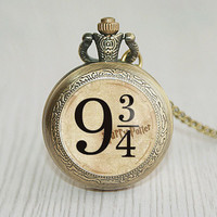 Handmade harry potter hogwarts platform 9 3/4 pocket watch platform 9 3/4 jewelry inspired, gifts