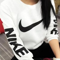 NIKE Women Men Trending Loose Long Sleeve Letter Print Sport Top Sweater Pullover Sweatshirt I