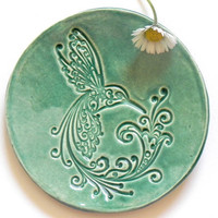 Ceramic Dish Bird Mint Plate Hummingbird Ring Holder Home Decoration Pottery