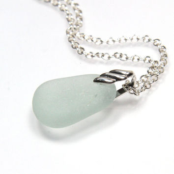 Sea Glass Pendant Necklace Aqua Blue ELYZA
