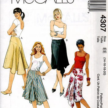 McCall's 4307 Sewing Pattern Bias Cut Skirt Draped Front Handkerchief Hem Godets Fishtail Flared Uncut FF Plus Size 14 to 20