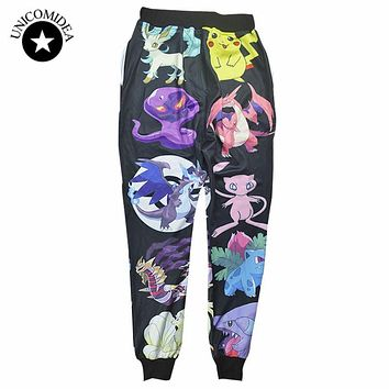 new fashion men/women  joggers pants 3D print cartoon pokemon pikachu skinny  sweatpants hip hop  wear