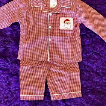 Christmas Gingham Santa Boys Cotton Pajamas