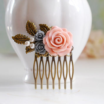 Pink Rose Grey Rose Antique Brass Leaf Hair Comb, Bridal Hair Comb, Wedding Hair Accessory, Bridesmaid Gift, Leaf and Flower Hair Comb