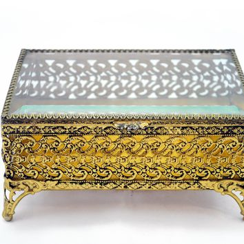 Vintage Filigree Jewelry Box with Beveled Glass Lid