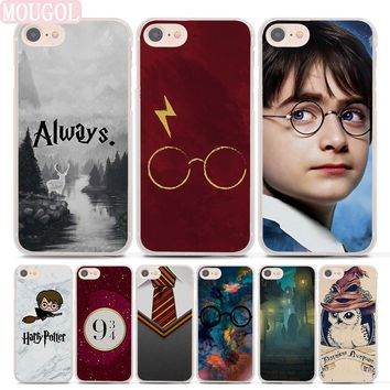 MOUGOL Hot Sale Avada Kedavra Harry Potter always Style Thin clear phone shell case for Apple iPhone 7 7Plus 8 8Plus 6 6sPlus X