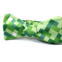 8 bit bowtie, video game bowtie, minecraft bowtie, pixel bowtie, SELF-TIE bowtie, gamer bowtie, green 8 bit squares, video game gift