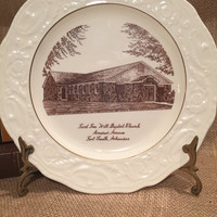 Steubenville Adam Antique Commemorative Plate First Free Will Baptist Church Fort Smith, Arkansas