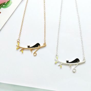Japanese Style Cartoon Silver Gold Color Enamel Lovely Black Cat on the Tree Necklace For Children Boy Girls Kids Gifts