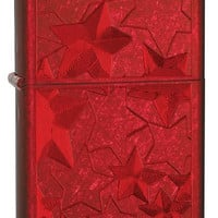 Zippo Lighter - Iced Stars Laser Engraved Candy Apple Red
