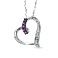 Amethyst and Diamond Accent Looping Heart Pendant in Sterling Silver