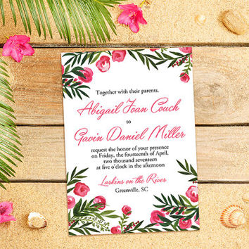 "Beach Wedding Invitation Card - Destination Wedding Invitation - Watercolor Wedding Invitation ""Tropical Garden"" Wedding Invitation Card"