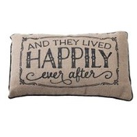 Happily Ever After 20 x 12 inch Burlap Sentimental Pillow