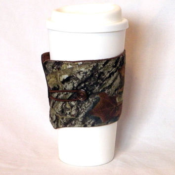 Coffee Mug Sleeve Camo Real Tree Travel Cup Cozy Reusable Men Stocking Stuffer