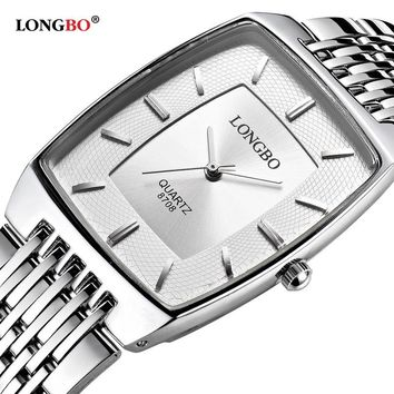 LONGBO Simple Square Dial Lovers Quartz Watch Casual Fashion Steel Strap Watches Men Women Couple Watch Sports Analog Wristwatch