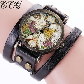 Women Fashion World Map Watch Vintage Genuine Leather Rivet Punk Casual Bracelet