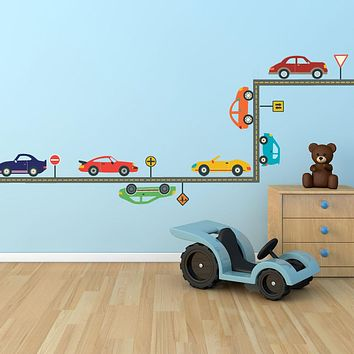 Cool Cars and Straight Gray Road  Wall Decals, Removable and Reusable Decals