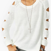 White Cut Out Long Sleeves Knitwear