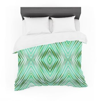 "Dawid Roc ""Green Mint Modern Ethnic "" Green Geometric Featherweight Duvet Cover"