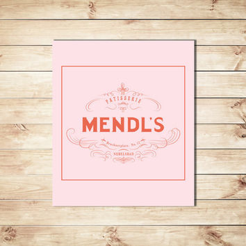 Mendls Label, Pink Background,Grand Budapest Hotel Mendl's Art , Wall Decor, Dorm Decor