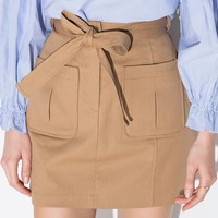 Khaki Belted Pocket Mini Skirt