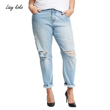 Lazy KoKo Plus Size New Fashion Women Clothing Casual Solid Broken Jeans Female Button Long Distressed Jeans 3XL 4XL 5XL 6XL