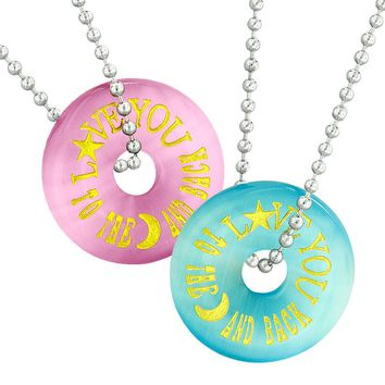 Love You to the Moon and Back Best Friends Couples Amulets Pink Blue Simulated Cats Eye Necklaces