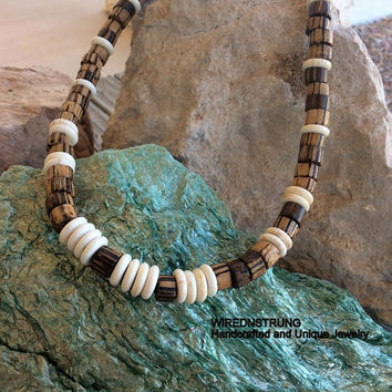 Men's Necklace, Men's Jewelry, Gift for him, Handcrafted Jewelry, Beach Necklace, Bohemain Jewelry, Wood necklace, Bohemian necklace