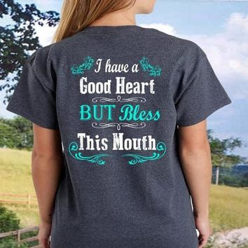 Country Life Southern Attitude Mint Bless This Mouth T-Shirt