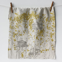 Linen Tea Towel - Yellow Tree Houses