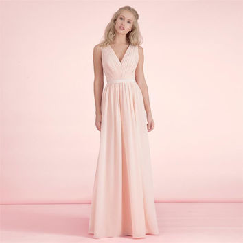 Elegant Fashion Simple Light Pink Bridesmaid Dresses V Neck Low Back Chiffon Long Wedding Party Dresses Vestido de Festa BN97