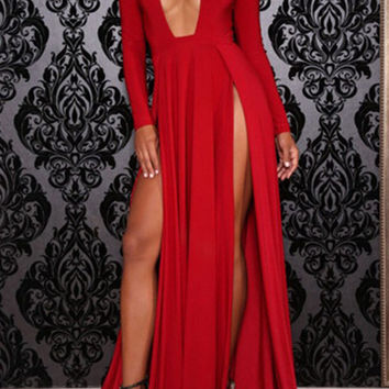 Red Deep V-Neck Long Sleeve Split Maxi Dress
