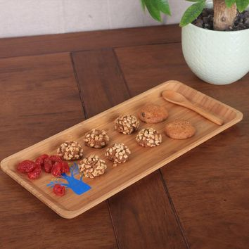 Rectangle Sushi dishes Food container Cake dish Fruit Wooden Flat Tray Dinnerware A plate of children  Dinner Japanese snacks