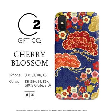 Cherry Blossom - Slim Dual-Layer Tough Phone Case Cover For Iphone X, Xr, Xs, 8, 8+ & Samsung Galaxy S10, S10+, S9, S9+, S8, S8+