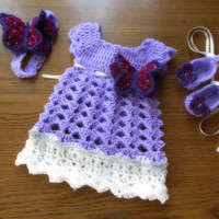 Crochet dress , headband shoes set, baby girl corchet dress, newborn dress, newborn first outfit