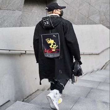 Kanye west Long Jeans Jacket Men Streetwear Hole Irregular cropping Jeans Coat Men Street Jeans Jackets Black Denim Clothes